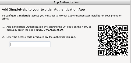 App Based Authentication Screenshot